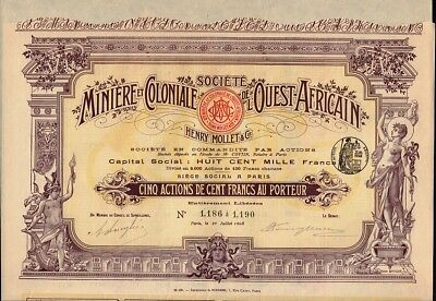 WEST AFRICA MINING & COLONIAL : Miniere & Coloniale Ouest Africain  Mollet *DECO