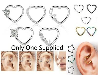 Star Heart Rook Daith Ring Tragus Hoop Ear Piercing Nose Stud Tiny Small Conch