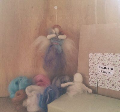 Needle felted fairy craft kit. Mother and Child. Grey,blue,purple.