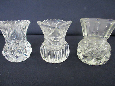 3 x Cut Glass Bud Vases - 6.5cm Tall - Ideal For Wedding Tables - Candle Sticks