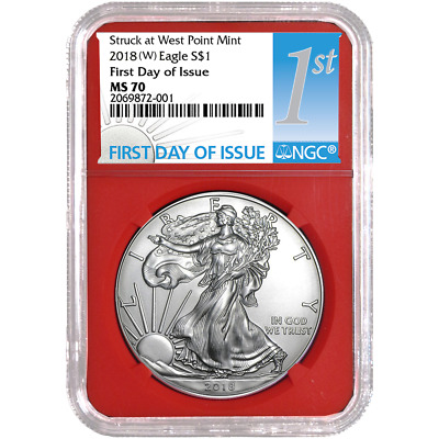 2018 (W) $1 American Silver Eagle NGC MS70 FDI First Label Red Core