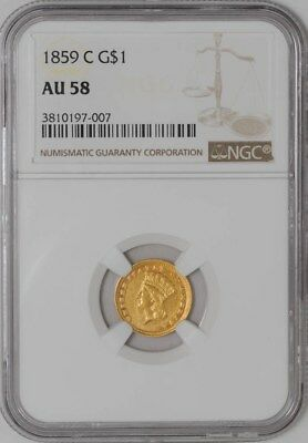 1859-C $ Gold Indian Dollar #3810197-007 AU58 NGC