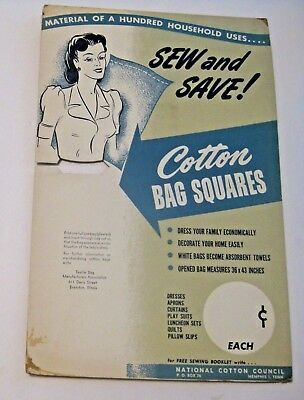 Vintage Sew & Save Cotton Bag Squares National Cotton Council Advertising Sign