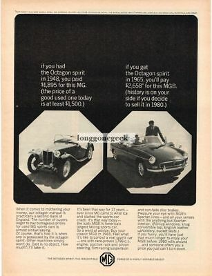 1965 MGB  Convertible Keeps its Value Vtg Print Ad