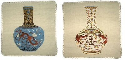 """Pair of 16""""Wool Needlepoint Ming Dynasty Dragon Vase Pillow with Checker Cording"""