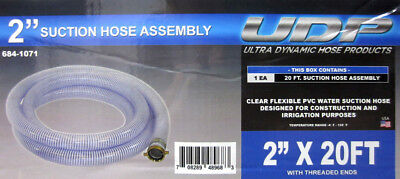 """UDP 684-1071 2""""x20FT Clear Flexible PVC Suction Hose Assessment w/ Threaded Ends"""