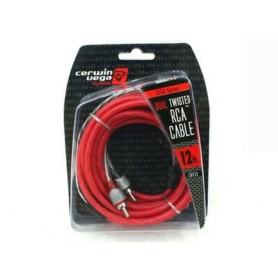 Cerwin Vega CRV12 Series 2 CH RCA Cable 12ft Dual Twisted Dual Molded Ends