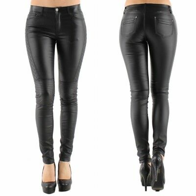 Womens Quality Black Leather Look Stretch Jeans Biker Goth Style UK 6 - 16