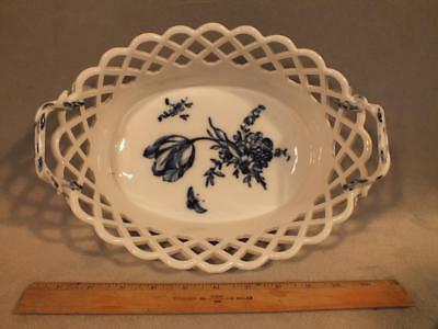 """Rare Antique Kpm Berlin 11"""" Blue Butterfly & Floral Reticulated Basket / Bowl"""