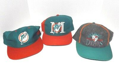Lot Of 3 Vintage Miami Dolphins Hats Caps Pro Line Snap-Back Adjustable