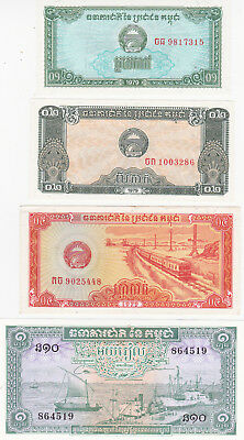 0,1&0,2&0,5&1 Riel Aunc-Unc Banknotes From Cambodia 1979!
