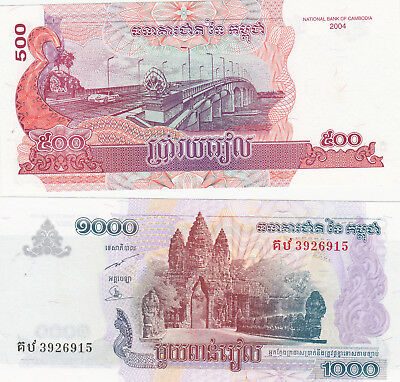 500&1000 Riels Aunc-Unc Banknotes From Cambodia 2004!pick-54-55!