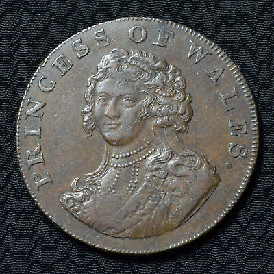 1795 Middlesex National Series Princess Of Wales, Halfpenny Conder Token D&h-977