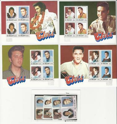 St. Vincent, Postage Stamp, #874-881 Mint NH Set & Sheets, 1985 Elvis Presley