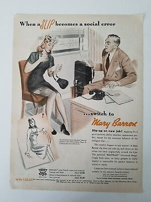 1946 Mary Barron women's slip become social error color fashion ad