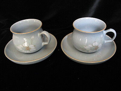 Denby Pottery BLUE DAWN Pair of Tea Cups & Saucers - more available