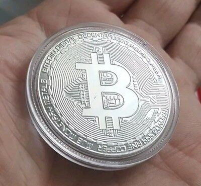 New! 1oz Silver Plated Copper Physical BITCOIN Proof Coin Round - FAST SHIPPING!