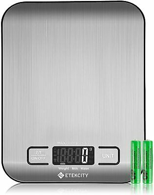 Etekcity 11 lb 5 kg Multifunction Digital Kitchen Food Scale, Stainless Steel