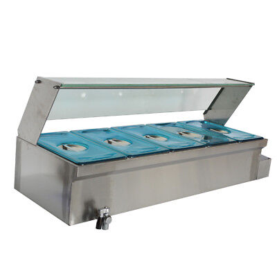 US 5-POT Bain-Marie Food Warmer(110V,1500W,5*1/3Pans) 6Inch Deep Pan