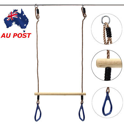 Wooden Trapeze Bar Blue For Children Fitness Outdoor Sports Swing Training AU