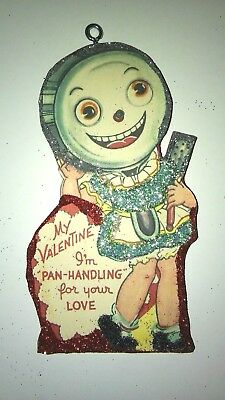 Vintage Valentine's Day  Card Glitter Wood  Ornament Pan Handling for your love