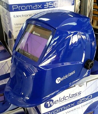 Auto Welding Helmet - Weldclass Promax 350 Blue with Grind Mode. MIG, TIG & ARC