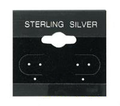 50 Acrylic & Velour Flocked Black Sterling Silver Earring Hang Cards 1.5 x 1.5