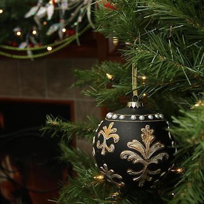 "4.5"" Victorian Style Black and Gold Glass Christmas Ball Ornament"