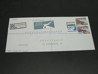 SWA 1972 Otjiwarongo registered airmail cover to Germany wrinkles *22463