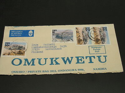 South West Africa SWA 1989? airmail wrapper to Finland *22495