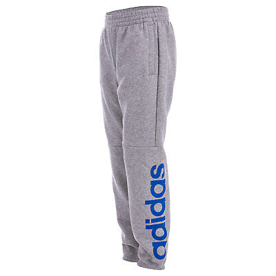 Junior Boys adidas Linear Jog Pants In Grey- Ribbed Cuffs And Waist- Pocket To
