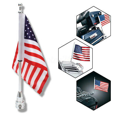 Motorcycle American USA Flag Flagpole Luggage Rack Mount For Harley Universal US