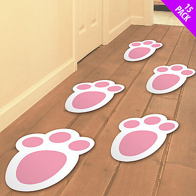 15 x Easter Bunny Footprints Feet Egg Hunt Trail Decorations Signs Party 06263