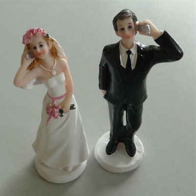 CAKE FIGURINES 14CM Bride and Groom Standing with Mobile Phone Wedding