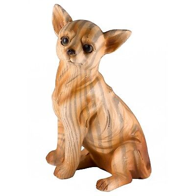 Chihuahua Carved Wood Look Dog Figurine Statue Resin 3.5 Inch High New!