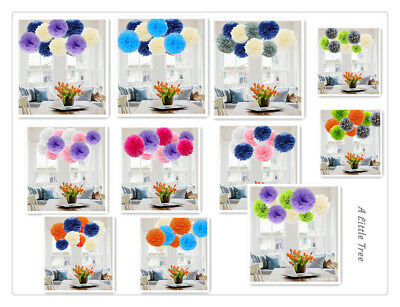 9 PCs New Mixed Tissue Paper Pompoms Fluffy Flower Ball Wedding Party Pom Poms
