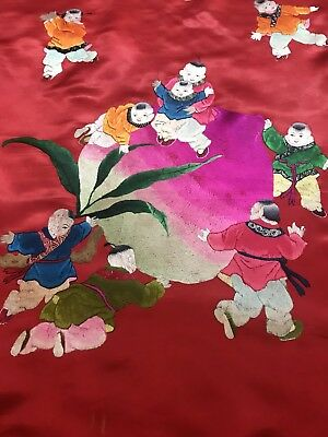 Antique Chinese Silk Hand Embroidery Wedding Sheet Piano Shawl Tapestry