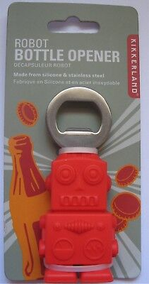 Red Robot Bottle Opener Kikkerland Silicone Stainless Steel BO16 New
