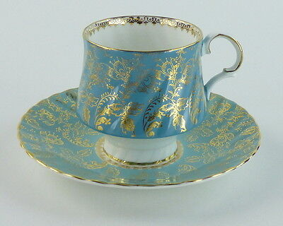Elizabethan Cup and Saucer Footed England Turquoise Gold Designs Fine Bone China