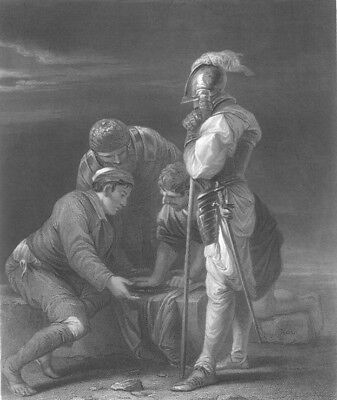 SOLDIERS GAMBLE FOR MONEY PLAY DICE ~ Old Salvator Rosa 1846 Art Print Engraving