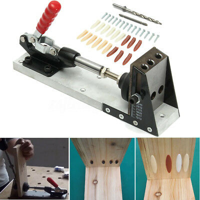 Pocket Hole Drill Jig Joinery System Woodworking Portable With Drilling Bit Set