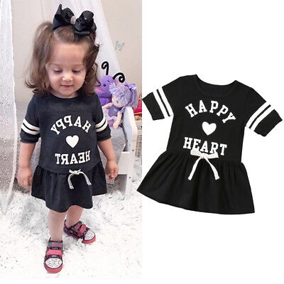 Adorable Kids Baby Girls Summer Short Sleeve Tunic Party Dress Clothes Sundress