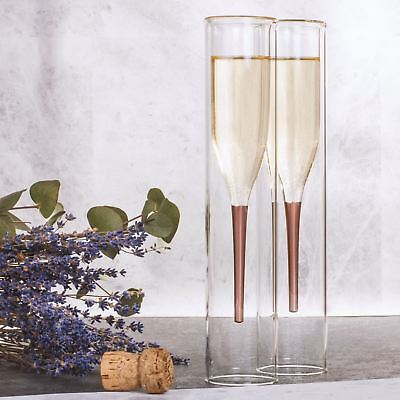 Soirée Tall Inside Out Glass Champagne Flutes Set of 2 Gift Bar Prosecco Party