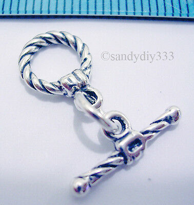 1x BALI OXIDIZED STERLING SILVER TWIST ROPE ROUND TOGGLE CLASP 9mm N023