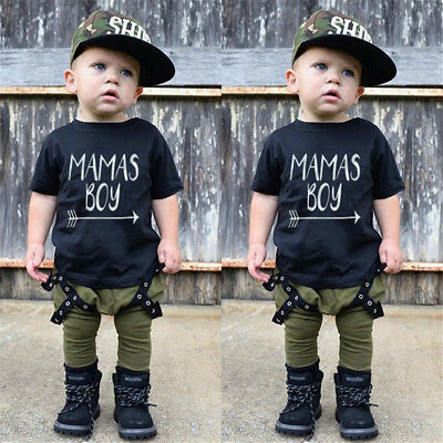Toddler Kid Baby Boys Cotton T-shirt Tops Long Pants 2pcs Outfit Set Clothes NEW