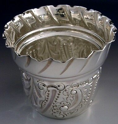 Beautiful Victorian Sterling Silver Embossed Bowl 1900 Antique