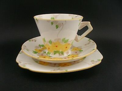 Standard China Vintage Art Deco English China Floral Trio Tea Cup Saucer Plate