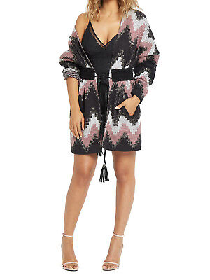 Very Lurex Detail Belted Knitted Cardigan in Multi One Size