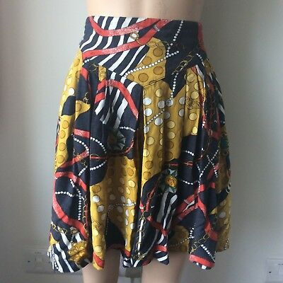 Vintage Nautical Jewel Print High Waisted Culottes Shorts Size 12/14 Gold Chain