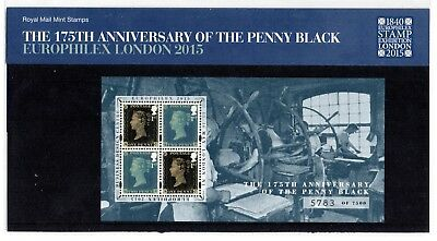 GB 2015 175th Anniv Penny Black Europhilex overprint Presentation Pack. VGC